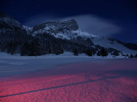 mountains landscape night snow  hd nature