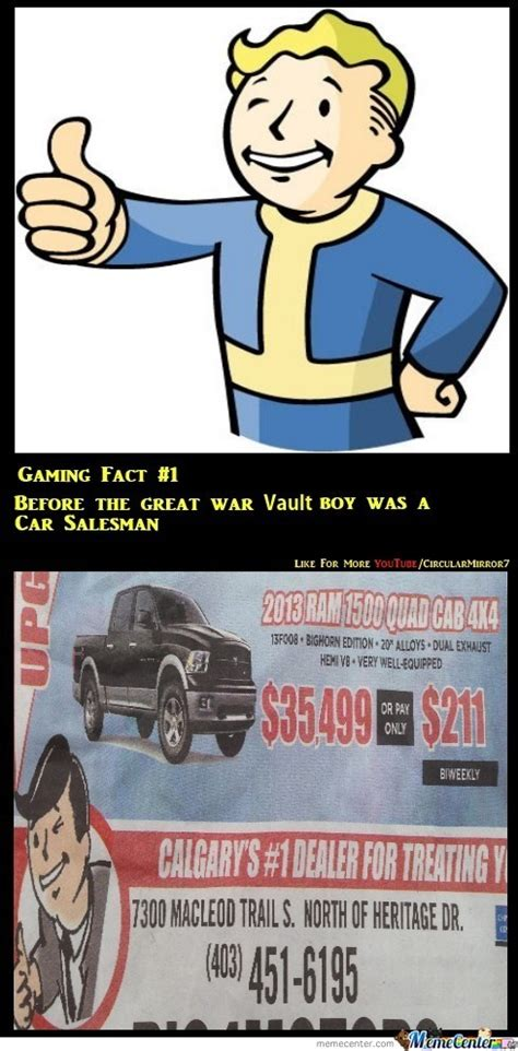 Vault Boy Meme - gaming fact 1 orgin of vault boy by recyclebin meme center