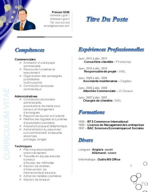 Rediger Un Cv Modele by Modele Cv Gratuit Directeur Commercial Christophebelair