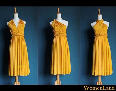 Golden Yellow Knee Length Infinity Wrapping Dress Convertible