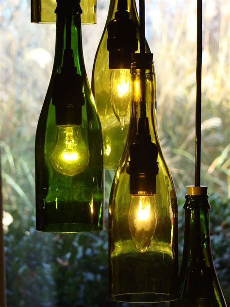 cascading wine bottle chandelier