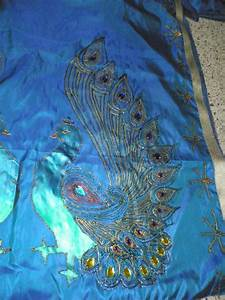 Saree, With, Peacock, Design, In, Glitter, Painting