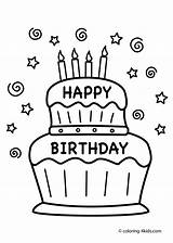 Birthday Coloring Cake Pages Happy Print Boys Party sketch template