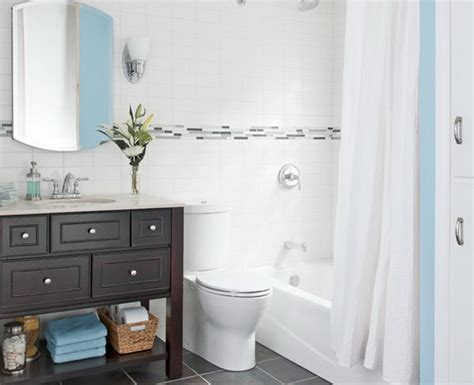 Nice Small Light Blue Color Bathroom. Example Of Well