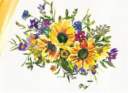 Sunflower Watercolor Clipart Hand Painted Thehungryjpeg Graphics