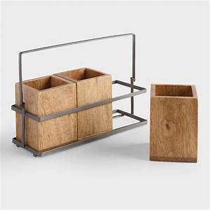 Wood and Metal Flatware Caddy World Market
