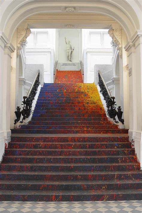 polish artist splatters national gallerys staircase