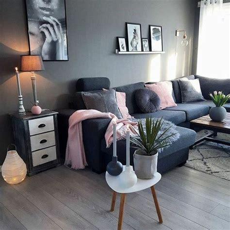idee decoration salon gris  rose
