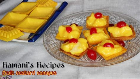 fruit canapes ramani 39 s recipes fruit custard canapes