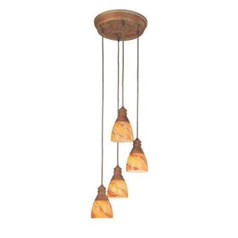 hton bay 4 light walnut pendant