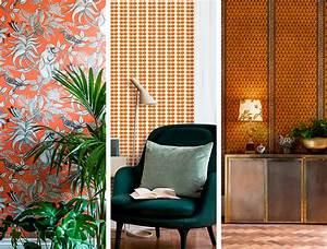 Au Fil Des Couleurs Papier Peint : des papiers peints orange pour dynamiser votre d coration ~ Melissatoandfro.com Idées de Décoration