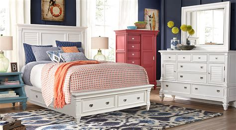 rooms to go bedroom sets belmar white 7 pc king panel bedroom with storage king