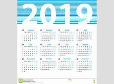 Vector Het Ontwerpmalplaatje Van Het Kalender 2019 Jaar