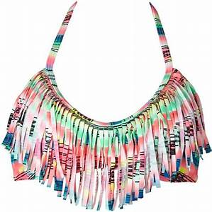 Forever 21 Neon Landscape Fringed Bikini Top in Green