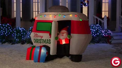 gemmy animated airblown inflatable santa  camper