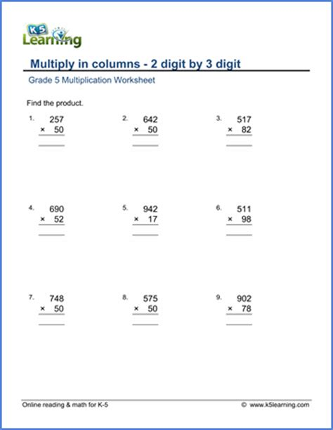 grade 5 math worksheets multiplication in columns 3 by 2