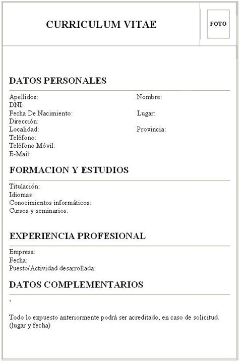 Curriculum Vitae Formato Basico Chile Word Example Good Resume