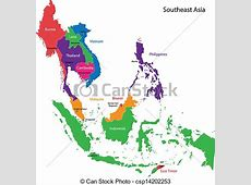 Southeastern asia map Color map of southeastern asia