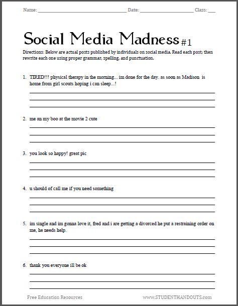 social media madness grammar worksheet   worksheet