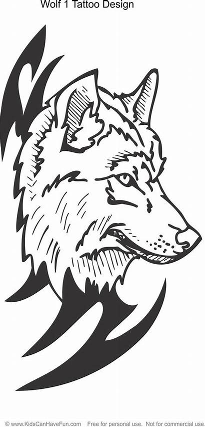Coloring Tattoo Pages Wolf Wolves Adult Colouring