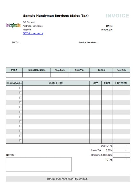canadian invoice template  hst