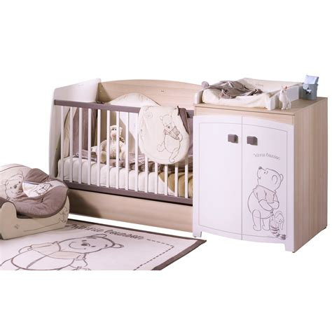 chambre de bébé aubert winnie lit chambre transformable 60x120 blanc 60x120