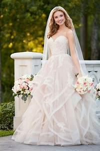 stella york 6432 pink floral lace wedding dress with With floral lace wedding dress