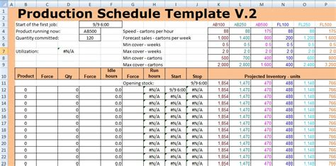 production schedule template excel excel spreadsheet