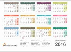 Kalender 2016 mit Feiertagen