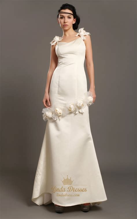 ivory sheath satin  neck wedding dresses  floral