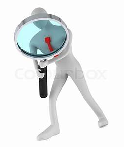 Person holding a magnifier looking for something | Stock ...