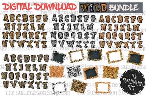 animal print bundle fonts backsplashes design  svg stop