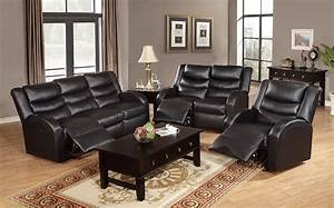 Black leather reclining sleeper sofa set combined with for Sofa bed and recliner chair set