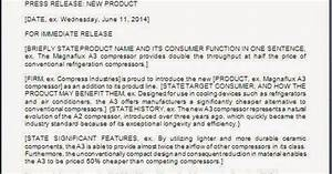 Request Letter Format for New Product Press Release