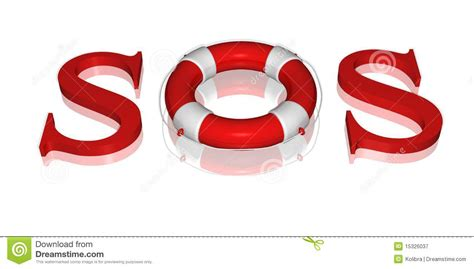 Signal Sos Text By Life Buoy Royalty Free Stock