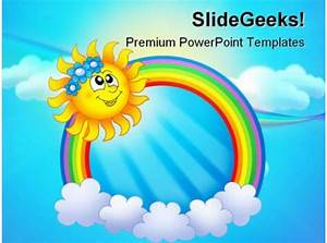 Rainbow Circle With Sun Nature Powerpoint Templates And