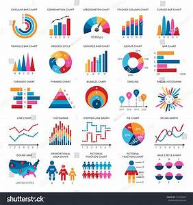 Color Finance Data Chart Vector Icons Stock Vector