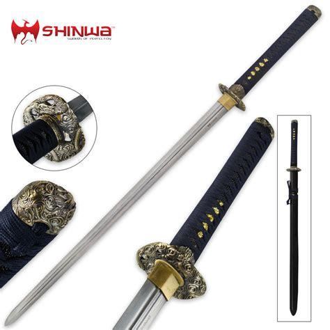 shinwa edged regal navy blue damascus katana sword budk com knives swords at the