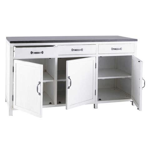 meuble cuisine avec plan de travail meuble bas de cuisine en bois recycl 233 blanc l 160 cm ostende maisons du monde