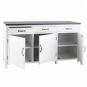Meuble De Cuisine Bas : meuble bas de cuisine en bois recycl blanc l 160 cm ~ Melissatoandfro.com Idées de Décoration
