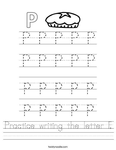 practice writing the letter p worksheet twisty noodle