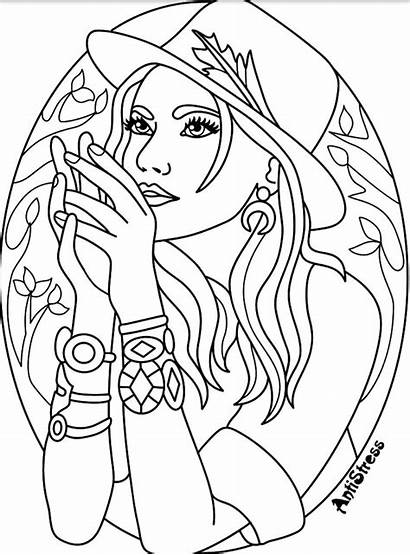 Coloring Pages Adults Adult Witch Blank Printable