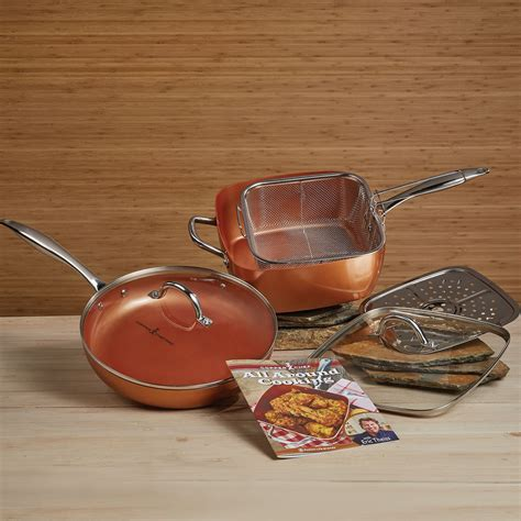 copper chef  piece cookware set glass lids  stick  stax excludes mn ebay