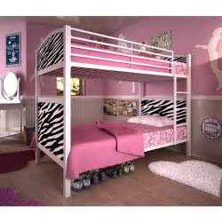 white metal twin whimsical bunk bed zebra pattern walmart com
