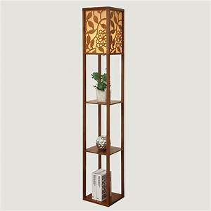 chinese style modern minimalist wooden floor bedroom With floor standing lamp with shelf
