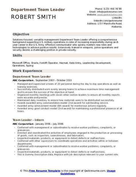 team leader resume samples qwikresume