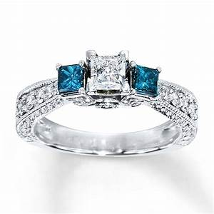 My new ring even better in person blue diamond ring 1 for Kay jewelers wedding ring