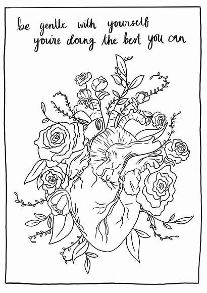 Mental Health Pages Coloring Template Yourself Gentle