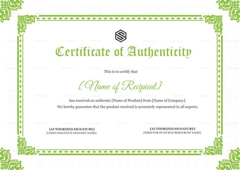 certificate  authenticity design template  psd word