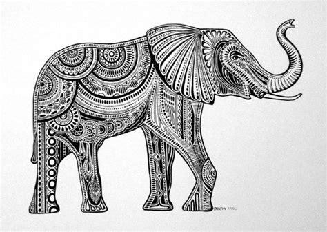 black white elephant ink drawing  tnkoriginals  etsy